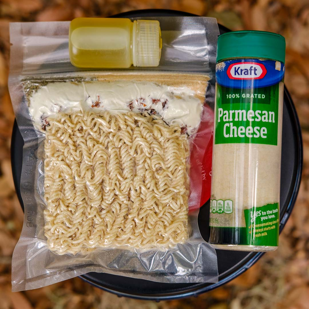 backpacking food packaged with olive oil and parmesan cheese