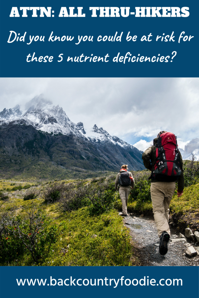 Did you know that you are at a higher risk for nutritional deficiencies while on the trail? Although any nutritional deficiency can develop on the trail, vitamin A, vitamin C, thiamine, iron, and selenium deficiency are most likely to occur. If you plan your meals correctly and eat the right trail foods, this does not need to be a worry. That way, you can enjoy and complete the hike of your dreams. #backcountryfoodie #backpackingfood #hikingfood #thruhiking #thruhike