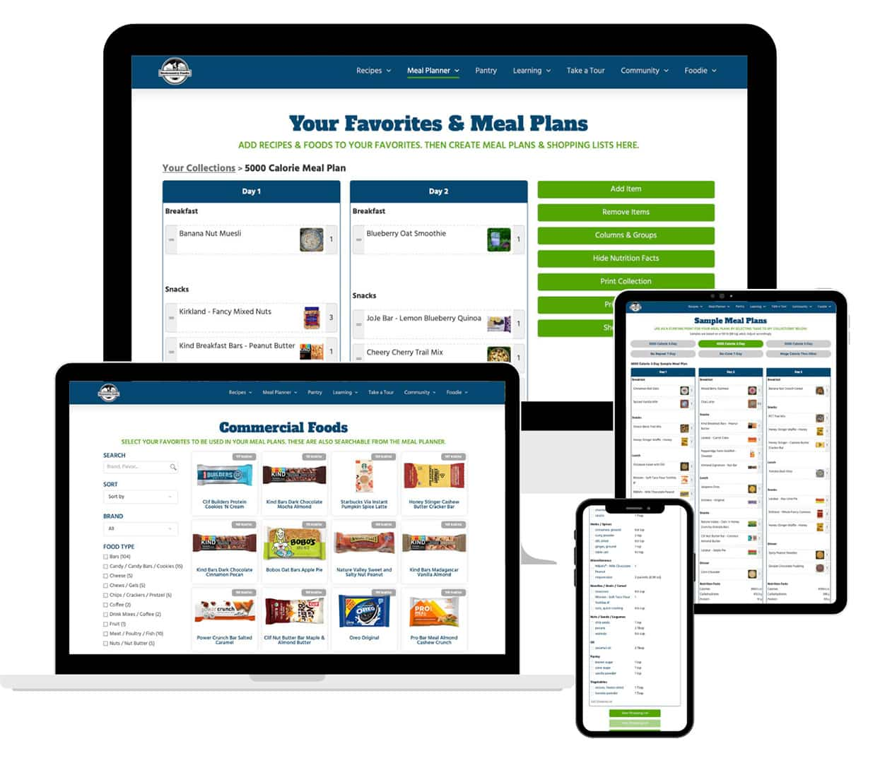 Meal Planner Commercial Foods Sample Meal Plans Shopping List